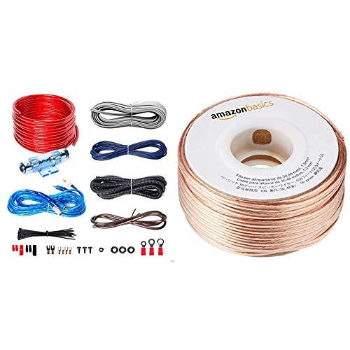 BOSS AUDIO KIT2 8 Gauge/ 3,27 mm Auto Installations-Set Verstärker Endstufe Kabel Anschlusskabel Cinch Kabel, Mehrfarben & AmazonBasics Lautsprecherkabel 1,3 mm² / 16 Gauge, 30,48 m (100 Fuß)