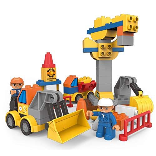 HHCUIJ 63 Piezas transforman ingeniería tráfico vehículo Bloques de construcción ensamblaje Creativo Ciudad Ladrillos compatibles Duplo Juguetes para niños para niños