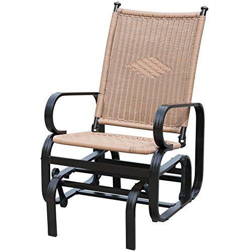 PatioPost Outdoor Patio Glider Chair Comfortable Porch Wicker Rocking Chair for Garden,Porch,Backyard, Poolside, Lawn, Tan