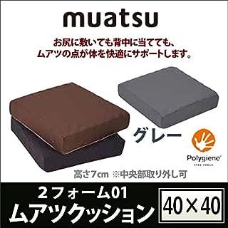 【昭和西川】muatsu-ムアツ- ムアツ クッション (約40×40×7cm) 2フォーム01 グレー/937