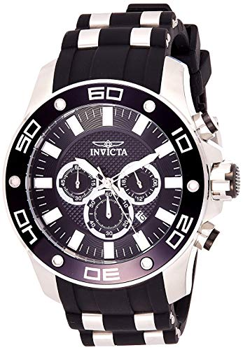 Invicta Men's Pro Diver Scuba Stainless Steel Quartz Watch with Silicone Strap, Black, 26 (Model: 26084)