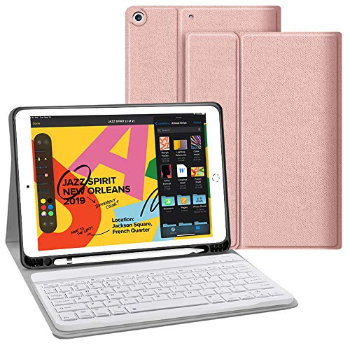 JUQITECH iPad 7th Generation Case with Keyboard for iPad 10.2 2019 7th Gen Keyboard Case with Pencil Holder, Lightweight Smart Magnetic Detachable Wireless Keyboard Cover for iPad 7th 10.2', Rose Gold
