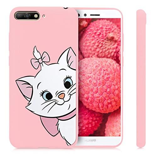 Pnakqil Huawei Honor7A / Y62018 Cover,Custodia per Huawei Honor7A / Y62018 Silicone TPU Cover Case Antiurto Antigraffio Ultrasottile Back Case Cellulare Rosa Chiaro,Gatto 01