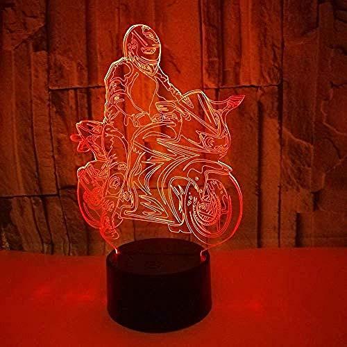 Luz Nocturna 3D Moto Lámpara De Óptico Ilusión De LVYONG Con Control Remoto 16 Cambio De Color Luces Led Usb De Táctil Para El Hogar Decoración Mejor Regalo Para Niños.