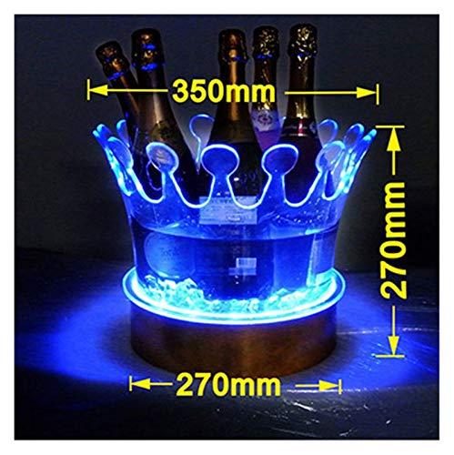 DZX Cubo de Hielo Cubo de Hielo LED Recargable Enfriador de Vino Que Cambia de Color Corona Champagne Soporte para Vino Bebidas Cerveza Estante para Vino Bar/Boda/Fiesta en casa para Fiestas, Bar