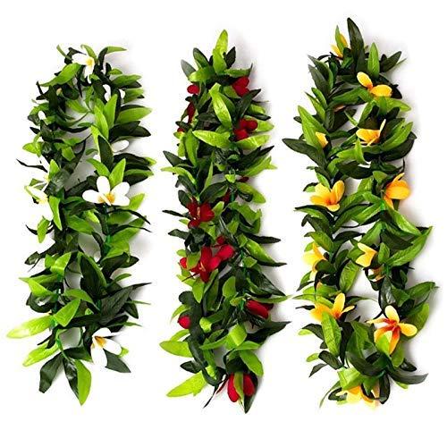 SBDLXY Collares de Hojas de Lei Hawaiano Tropical con Flores Artificiales de 3 Piezas para Disfraz de Hula y Fiesta en la Playa