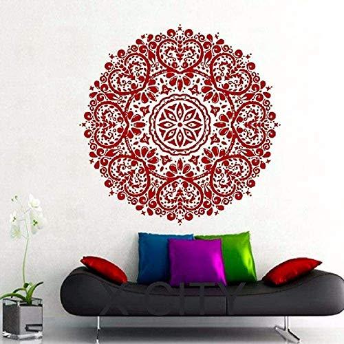 Etiqueta De La Pared Indian Mandala Pattern Yoga Logo Autoadhesivo Vinilo Calcomanía Home Gym Office Art Deco Mural Dormitorio Estudio Ventana 55X55 Cm Rojo