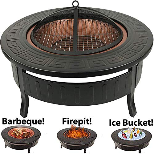 RayGar 3 in 1 Round Fire Pit BBQ Ice Pit Patio Heater Stove Brazier Metal Outdoor Garden Firepit + Protective Cover FP34 - New