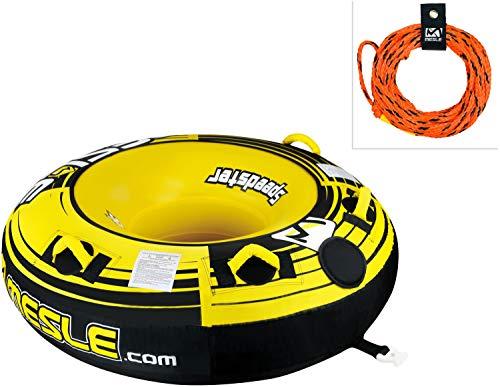 MESLE Tube Package Speedster 58\'\' gelb, mit 2P Schleppleine, Towable-Tube, Fun-Tube, 147 cm Donut Wasser-Reifen, gelb-schwarz-weiß, 1-2 Personen, 840 D Nylon, Tube, Boston Ventil