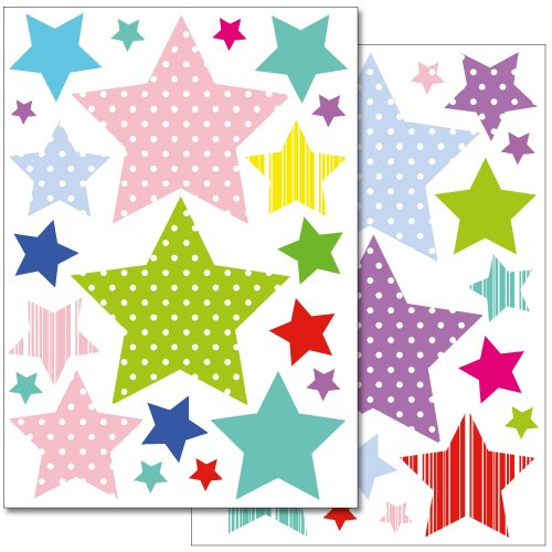 Wandkings WS-50006 Sterne mit Muster Wandsticker Set, 42-Aufkleber, 2 DIN A4 Bögen, Gesamtfläche 60 x 20 cm