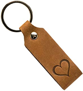 Ankerpunkt Llavero de cuero con corazón grabado - Regalos para mujeres Hombres Mejor amiga amigo - Idea de regalo para el ...