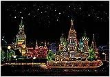 YWXKA Regenbogen Scratch Notizen Papier, Schwarz-Gekritzel-Auflage-magische Malkartons, Stadt Seriesnight Ansicht, DIY Crafts Geschenk für Kinder, Russisch Roter Platz -