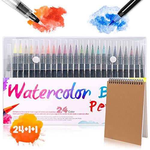 Rotuladores con Punta de Pincel,Bolígrafos de Pincel GVOO 24 Colores Rotuladores Acuarelable para Colorear Dibujar Cómic Caligrafía Diseño de Letras