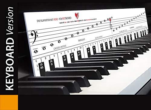 """KEYBOARD lernen mit der TonGenau-Methode """"Klaviatur mit Herz"""" Tastenschablone/Klavierschule: Musiknoten, Notennamen, Tastenorientierung. Die Klaviatur gibt es auch für Klavier und Piano."""