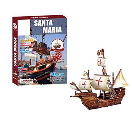 FFCVTDXIA Modelo de Navidad Ornamento de Navidad Santa Maria Montaje en Barco Modelo Modelo 3D Papel Puzzle Misterioso Pirate Barco Modelo Mini Crucero Colección zhihao