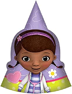 Amscan Doc McStuffins Birthday Party Paper Cone Hats Wearable Supply (8 Pack), Purple/Yellow, 6