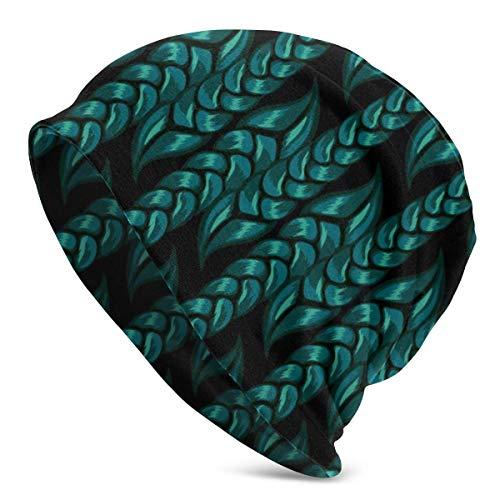 gong Green Rope Graffiti Green Creativity Beanie Hat para Hombres y Mujeres - Gorro cálido Unisex con puños Lisos de Punto de Calavera
