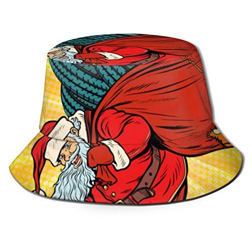 Towel&bag Nikolaus klettert den Schornstein mit Champagner, niedlicher Aufdruck, Fischerhut für Damen und Herren, doppelseitig, wendbar
