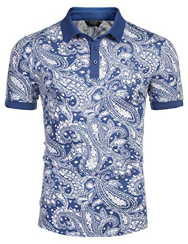 COOFANDY Men's Paisley Polo Shirt Casual Short Sleeve Floral Print Shirt Blue