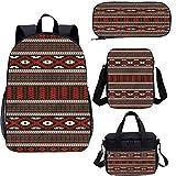 Juego de mochila para adolescentes de 17 pulgadas, Primitive Culture Art Zigzag School Bags Set para trabajo, escuela, viajes, picnic