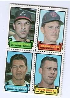 1969 Topps Baseball Stamps Tito Francona-Bernie Allen-Dick Green-Ron Hunt 4 Stamp Panel