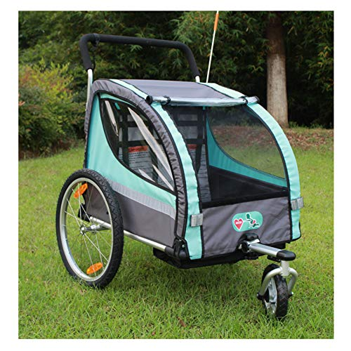KUHO 2 en 1 de los niños Bike Trailer, 2-Seater para niños, cochecito, fácil de montar y plegar hacia abajo, caja de seguridad de acero con gancho reflectante.