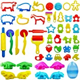 FRIMOONY Play Dough Tools Set for Kids, Various Plastic Animal Molds, Clay Rolling Pins, for Creative Dough...