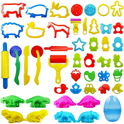 FRIMOONY Play Dough Tools Set for Kids, Various Plastic Animal Molds, Clay Rolling Pins, for Creative Dough Cutting, 44 Pieces