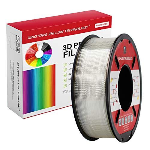 Filamento PLA 1,75 mm, Filamento PLA con effetto metallizzato, trasparente, legno, seta, marmo, per stampante 3D e penna 3D, Precisione dimensionale +/- 0,02 mm, bobina da 1 kg(Trasparente)