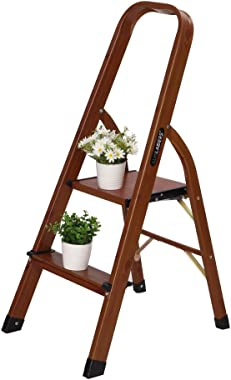 LUISLADDERS Step Ladder Woodgrain Aluminum Lightweight Ladders Folding Step Stool for Home and Kitchen Ladder 330lb (2 Step)
