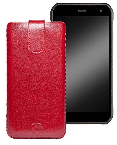 Favory Original Etui Tasche für Cyrus CS24 Leder Etui Handytasche Ledertasche Schutzhülle Hülle Hülle Lasche mit Rückzugfunktion* in Rot
