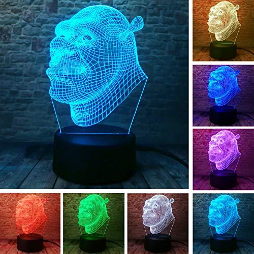 Green Shrek Schrek Squad Film Actionfigur Farbverlauf Weihnachten 3D LED Nachtlicht USB Tischlampe Kinder Geburtstagsgeschenk Nachttisch Dekoration