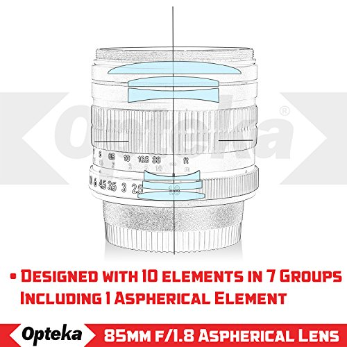 Opteka 85mm f/1.8 Manual Focus Aspherical Medium Telephoto Lens for Canon EOS 80D, 70D, 60D, 60Da, 50D, 7D, 6D, 5D, 5DS, 1Ds, Rebel T6s, T6i, T6, T5i, T5, T4i, T3i, T3, T2i and SL1 Digital SLR Cameras