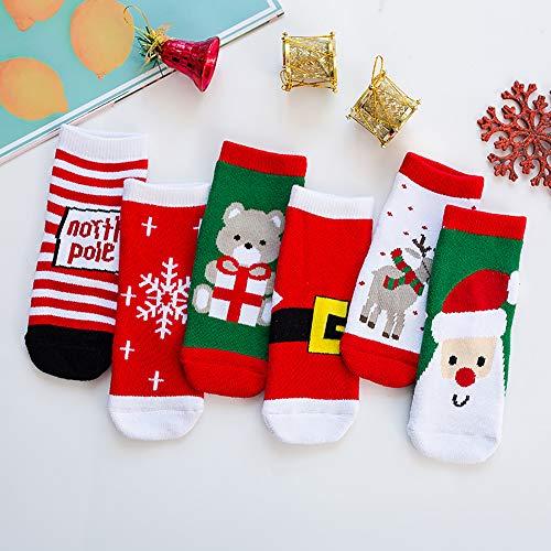 MH Kerst Sokken,6 Paar Winter Baby Katoenen Sokken Kinderen Kerstmis Enkel Sokken, Kerst Patroon voor Hem (Of haar)