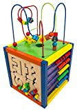 MMP Living 6-in-1 Play Cube Activity Center - Wood, 12' - 6 Sided Including Race Track with car, Xylophone with Mallet, Clock, Abacus, Block Track and 3 Different Bead Play Options