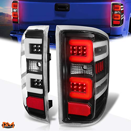 Compatible with Chevy Silverado/GMC Sierra 14-19 3D LED Bar Tail Light Brake/Stop Lamp Black