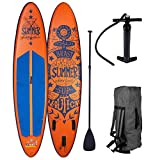 BRAST Stand up Paddle Gonflable Adulte Rigide Summer Orange 10'6 20psi 120kg Drop Stitch 15cm epaisseur kit Complet – Planche Gonflable Sup 320x76x15cm