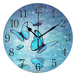 senya Blue Butterfly Wall Clock Silent Non Ticking Operated Round Easy to Read Home Office School Clock