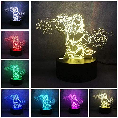 ADIS 3D Illusion Lamp LED Night Light Night Table Lamp Man Wei Hotmovie Stupito Woman Captain 7 Color for USB Child Kid Boy Bed Decor