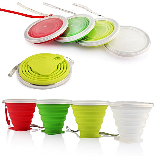 ME.FAN Silicone Collapsible Travel Cup - Silicone Folding Camping Cup with Lids - Expandable Drinking Cup Set - Portable, Graduated [9.22oz]