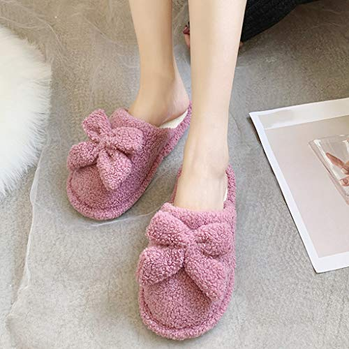 Zapatillas de casa zapatillas de algodón zapatos calientes zapatillas mujeres de invierno casa hogar otoño par de zapatillas de algodón estudiante CáLido Zapatillas ( Color : D , Size : 36-37 )