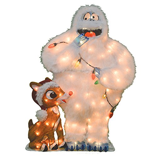 ProductWorks Product Works 20305_L2D Decoration, 80 Lights 32-Inch Pre-Lit Rudolph and Bumble Christmas Yard Decorat, Incandescent
