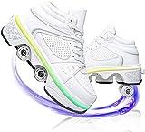 Eortzzpc Patines Unisex Kids LED LED Encima de la deformación retráctil Skates Skates Zapatillas de la Rueda de Zapatillas de Deporte para niñas (Color : White, Size : 41)