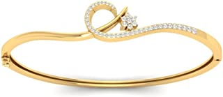 0.154 cttw Round-Cut-Diamond 6.75 inches identification-bracelets Size IJ| SI 18K Yellow Gold