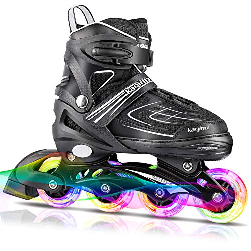 KAQINU Adjustable Inline Skates, Blades Roller Skates with Full Illuminating Wheels for Kids and Youth, Girls and Boys (White, L)