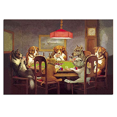 Karen Max Pintura Al óleo Arte De La Pared Impresiones De Lienzo Perros Jugando Al Póquer No Enmarcados Imágenes De Animales para (Sin Marco,50x70 cm) (Sin Marco,50x70 cm)