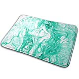 Marble Ink Green White Polyester Flannel Bath Mat Non Slip Extra Cozy and Absorbent Shaggy Rug Dry Fast Perfect for Bathroom Indoor Tub Shower Bedroom Living Room Carpet 15.7x23.5 Inch