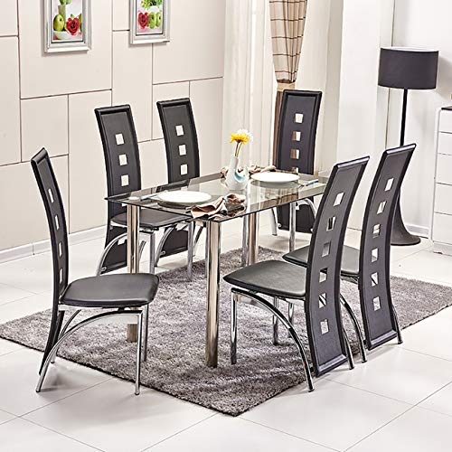HomeSailing EU Dining Table and 6 Chairs Set Chrome Leg Black Faux Leather Chairs Rectangle Glass Table for Home Kitchen Dinning Room