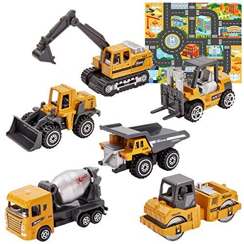 HERSITY 6 Stück Baufahrzeuge Kinder Metall Baustellenfahrzeuge Set Mini Bagger Lastwagen Spielzeug mit Spielmatte Auto Geburtstagsgeschenk für Junge
