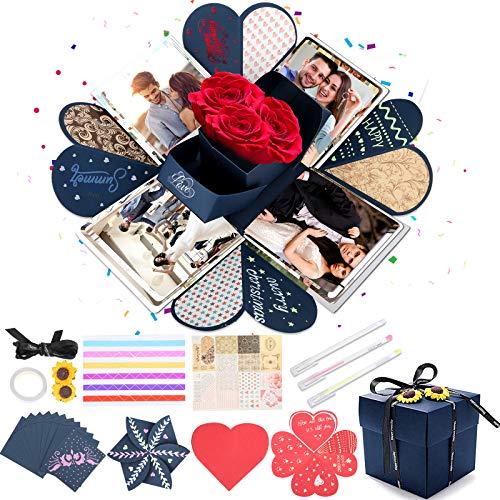 Aitsite Überraschungsbox, Explosionsbox Geburtstag, DIY Geschenkbox, Kreative Explosion Box für Weihnachten/Neujahr/Valentine/Geburtstag/Muttertag/Hochzeit/Themaparty (Mit Aufklebern)